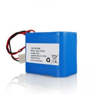 6.4V 12Ah LiFePO4 цэнэглэдэг лити 26650 32650 нарны гэрэлд холбогчтой батерейны багц